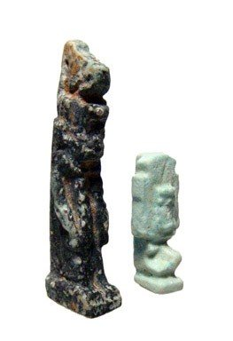 8: Egypt. Pair of faience amulets, Neith and Shu