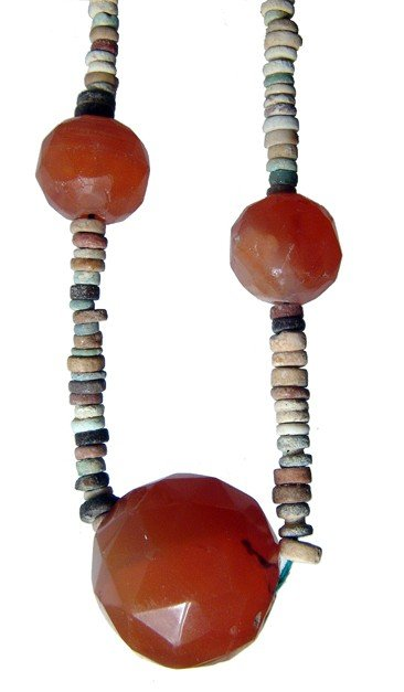 9: Egyptian faience and carnelian bead necklace
