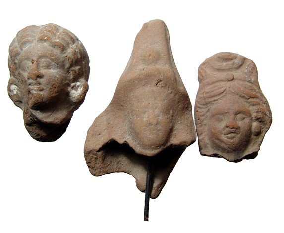 15: 3 terracotta heads from Graeco-Roman Egypt