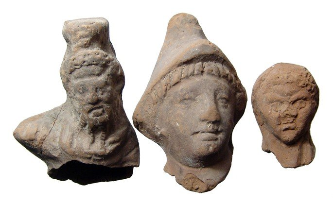 16: 3 terracotta heads from Roman Egypt