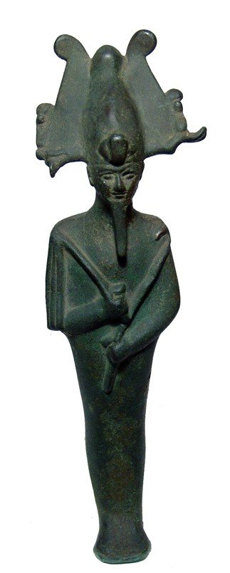 88:13 inch tall and substantial bronze statue of Osiris