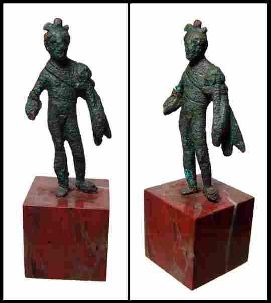 Roman, small bronze figure of Genius