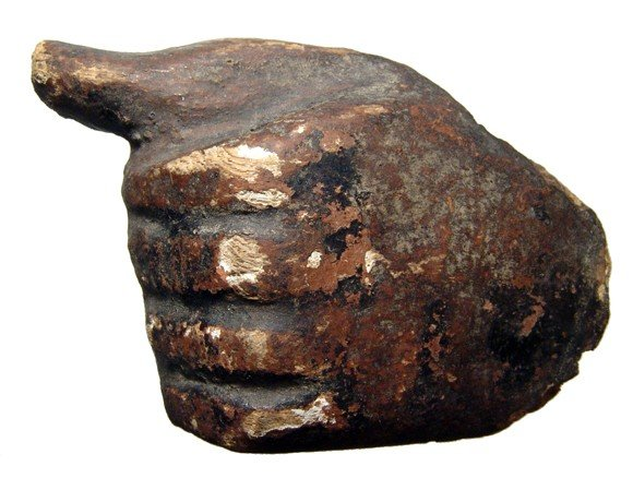 2: Egyptian wooden hand from a sarcophagus