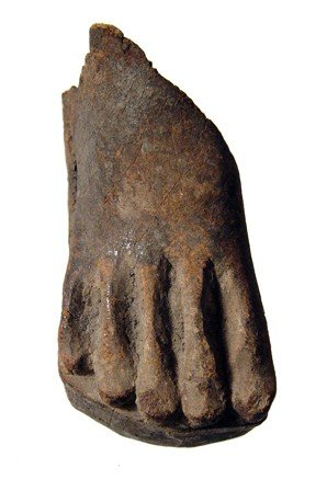 3: Wooden foot from Middle Kingdom figure, Egypt