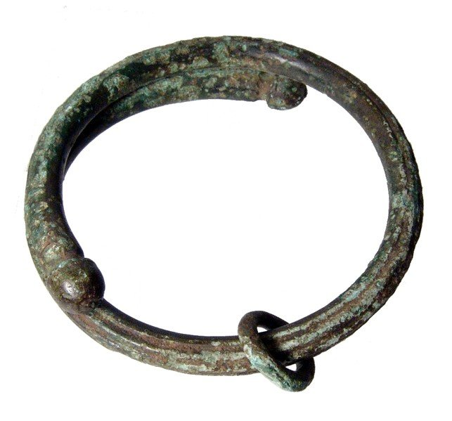 14: Luristan bronze bracelet with domed terminals