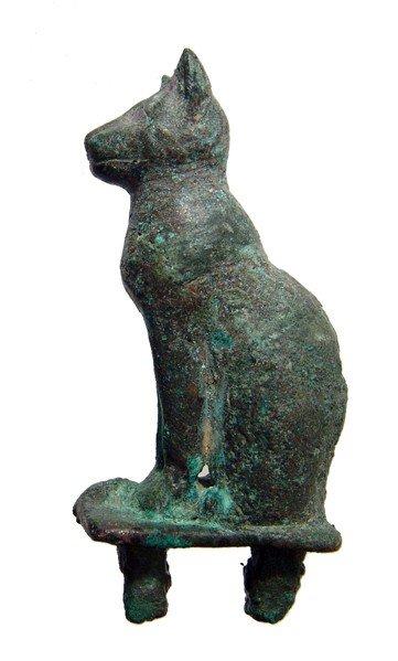 75: Bronze figure of a seated cat, Late Period