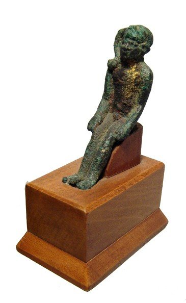 76: Seated bronze figure of Harpokrates, Late Period
