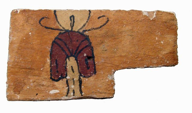 """87: Painted wooden panel with """"knot of Isis"""""""