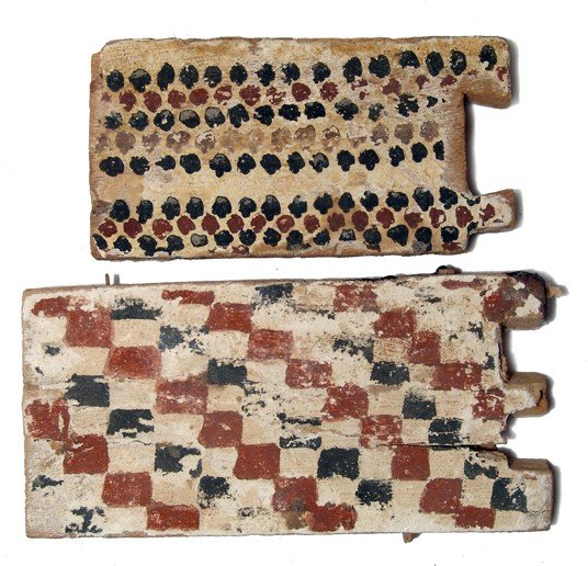 89: Pair of Egyptian painted wooden panels
