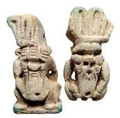 135: 2 large faience amulets of the dwarf god Bes