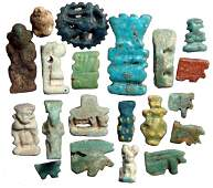 144: Large group of 20 Egyptian faience amulets