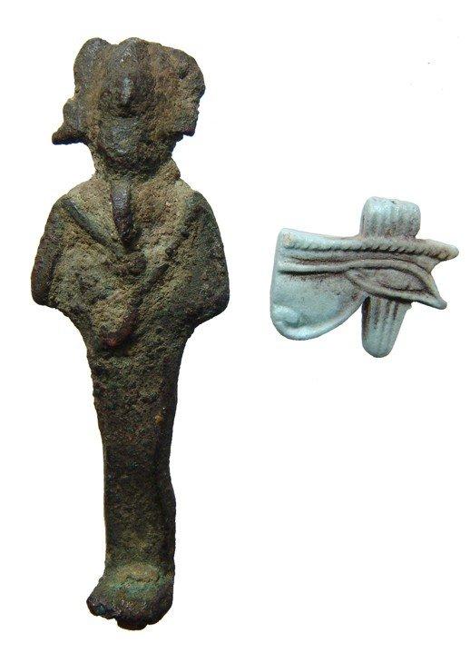 7: Egypt. Bronze Osiris and 'Eye of Horus' amulet