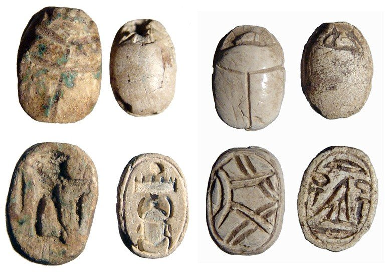 9: Lot of 4 Egyptian steatite scarabs