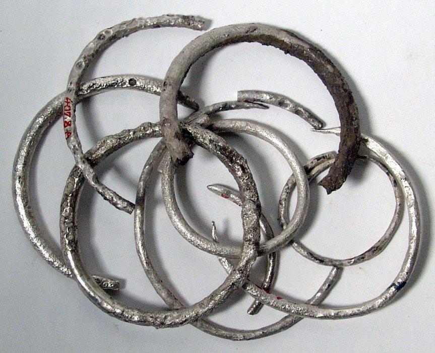 23: Lot of 10 silver bracelets, Western Asia