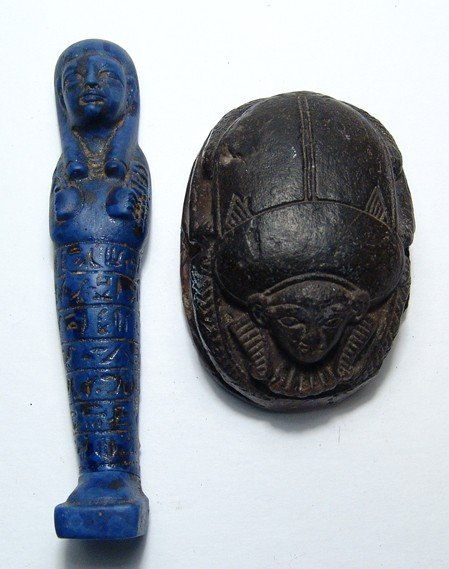35: Pair of antique Egyptian items