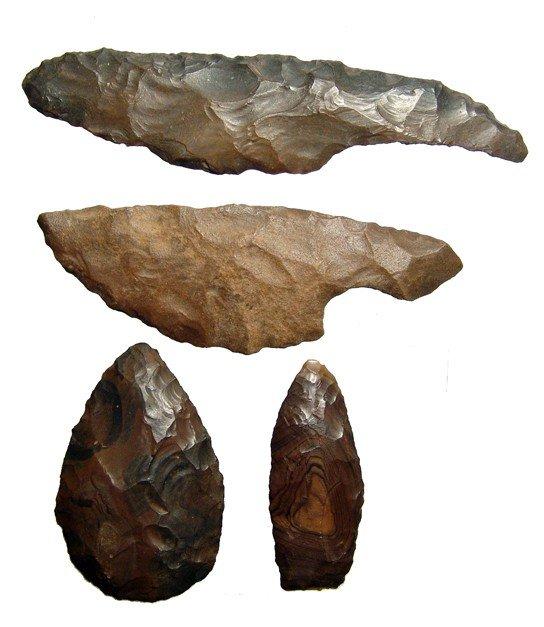 42: Egypt. 4 deep brown Pre-Dynastic jasper tools
