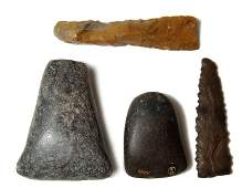 43: Lot of 4 Egyptian Pre-Dynastic stone tools