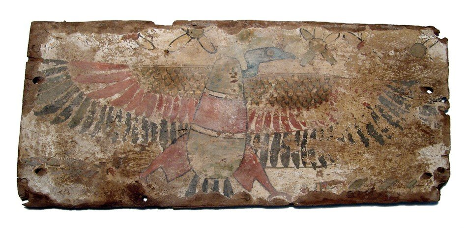 84: Large wooden panel, vulture with open wings