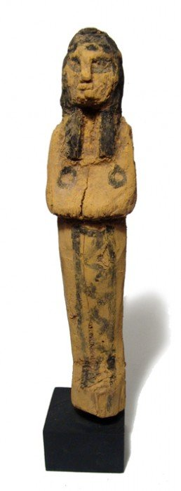 Tall Painted New Kingdom Wood Ushabti
