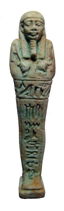95: Incredibly well detailed green faience ushabti