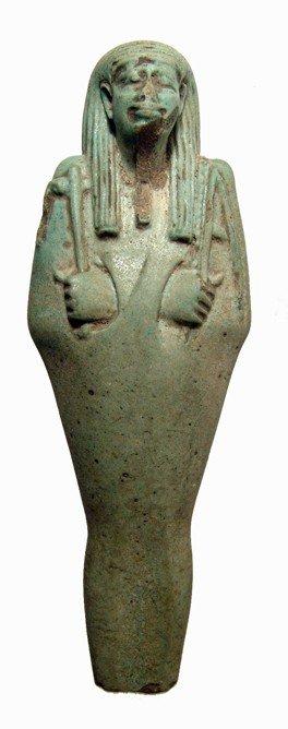 98: Pleasing green faience ushabti, Late Period