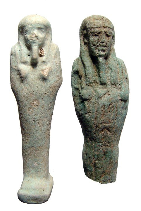 99: 2 pale green faience ushabtis, Late Period