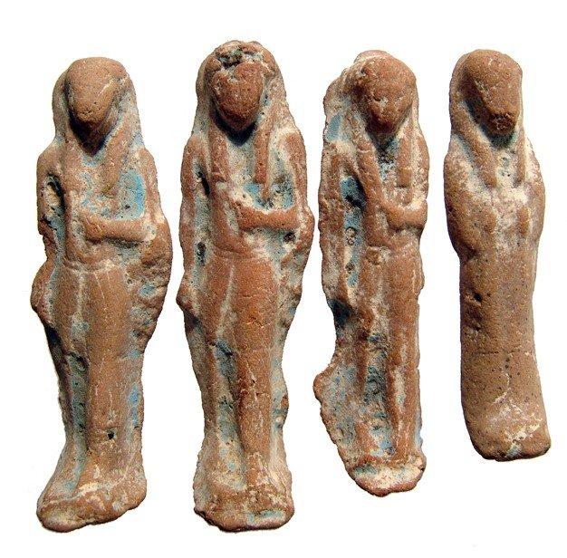 100: 4 glazed terracotta ushabtis, Late Period