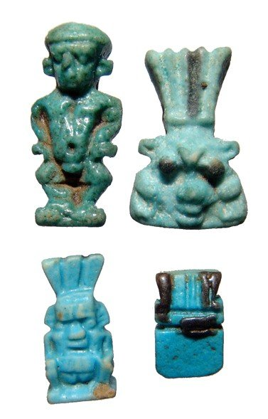104: Lot of 4 choice Egyptian faience amulets