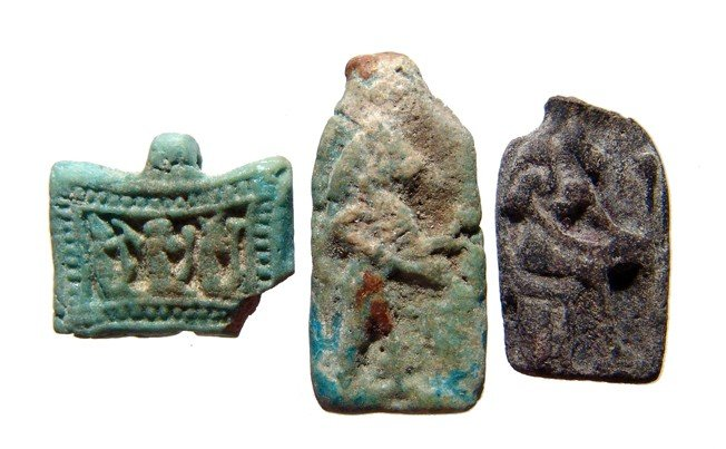 108: 3 Egyptian faience plaques, Late Period