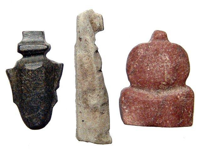 109: 3 Egyptian stone amulets, Late Period
