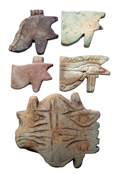 112: Group of 5 'Eye of Horus' amulets, Late Period
