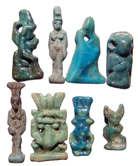 114: 8 nice Egyptian faience amulets, Late Period