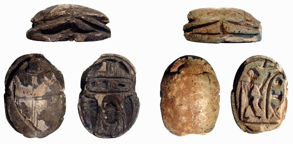 123: Pair of large New Kingdom scarabs