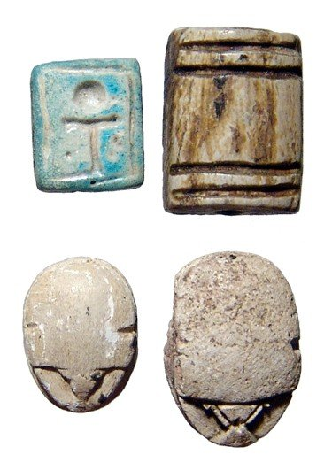 126: Lot of 4 Egyptian Scarabs and Plaques