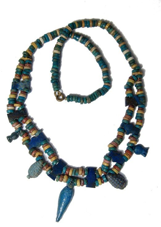 127: Necklace with 18th Dynasty faience beads