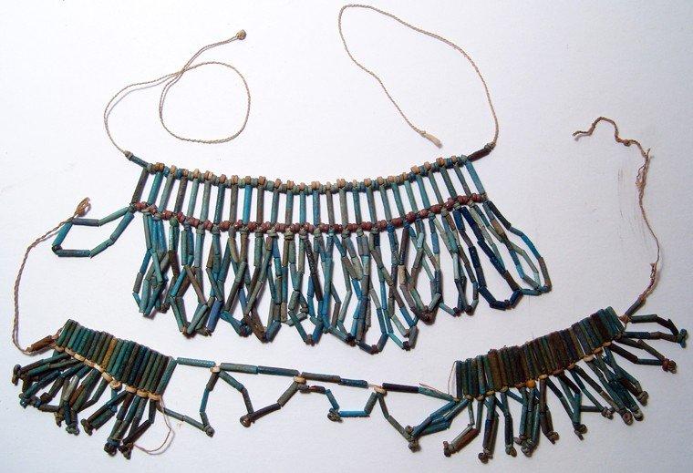 128: Pair of Egyptian faience beaded collars
