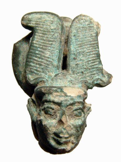 130: Egyptian plumed head from large faience figure