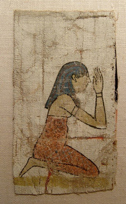 134: Beautiful painted linen panel depicting a mourner