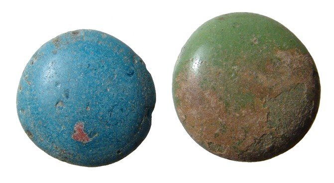 139: Pair of Roman glass gaming counters, Egypt