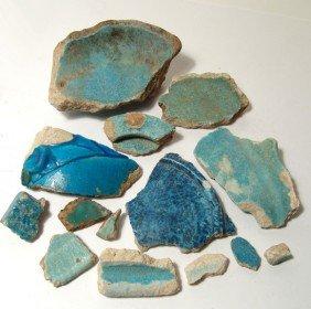 14 Egyptian Faience Fragments, Graeco-Roman