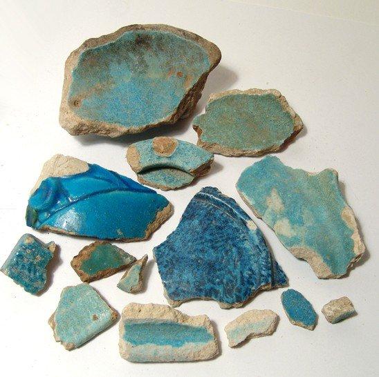 143: 14 Egyptian faience fragments, Graeco-Roman