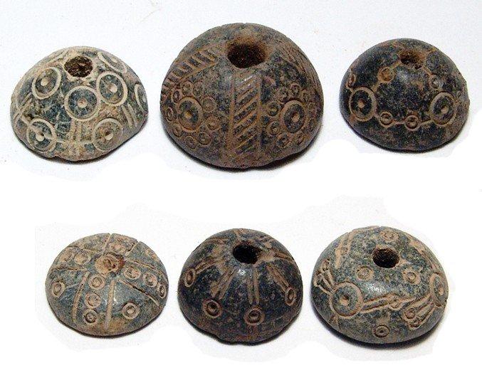 144: 6 Coptic steatite spindle whorls, Roman period