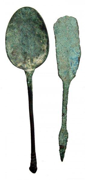 Near Eastern Bronze Razor And Byzantine Spoon