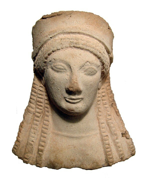 170: Beautiful Greek terracotta protome of Kore
