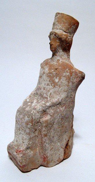 171: Greek terracotta seated female votive