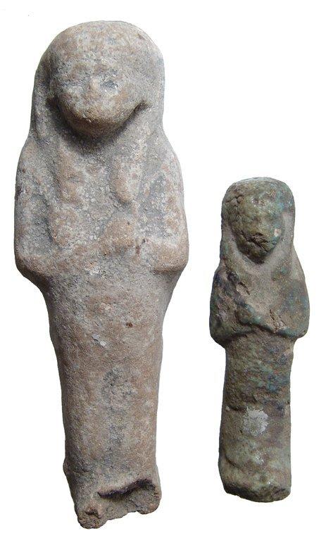 2: Two Egyptian faience ushabtis, Dynasty XXI