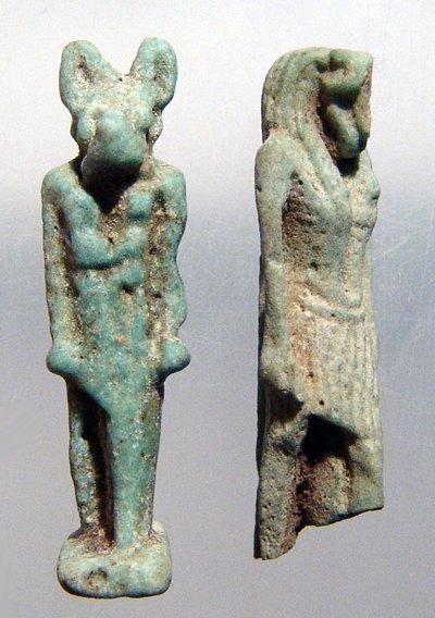 3: Late Period Egypt, 2 turquoise faience amulets
