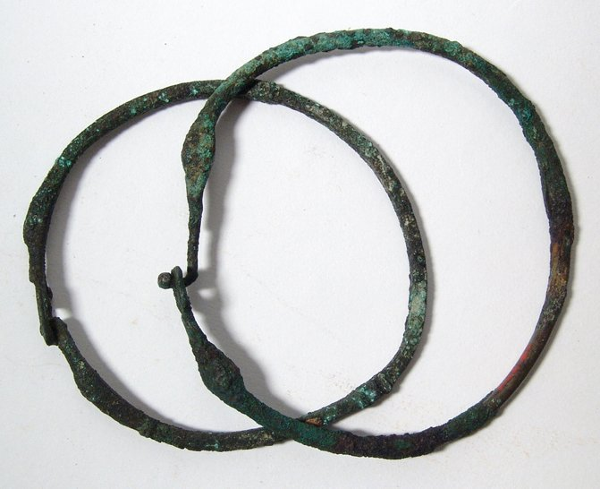 9: 2 bronze armlets or chokers, Western Asia