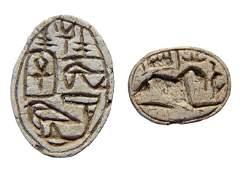 109: Egyptian steatite scarab and a scaraboid