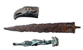 164: Roman bronze knife handles and an iron blade